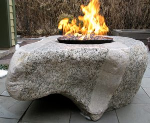"""""""Paula's Find,"""" a firepit sculpted by my late husband, Richard Cabe."""