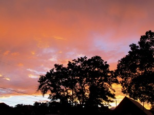 A tangerine sunset from my side deck...
